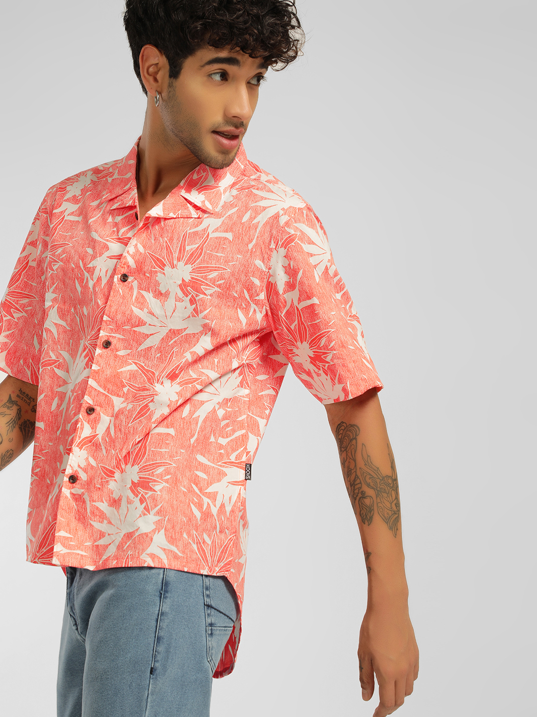 KOOVS Tropical Print Cuban Col...