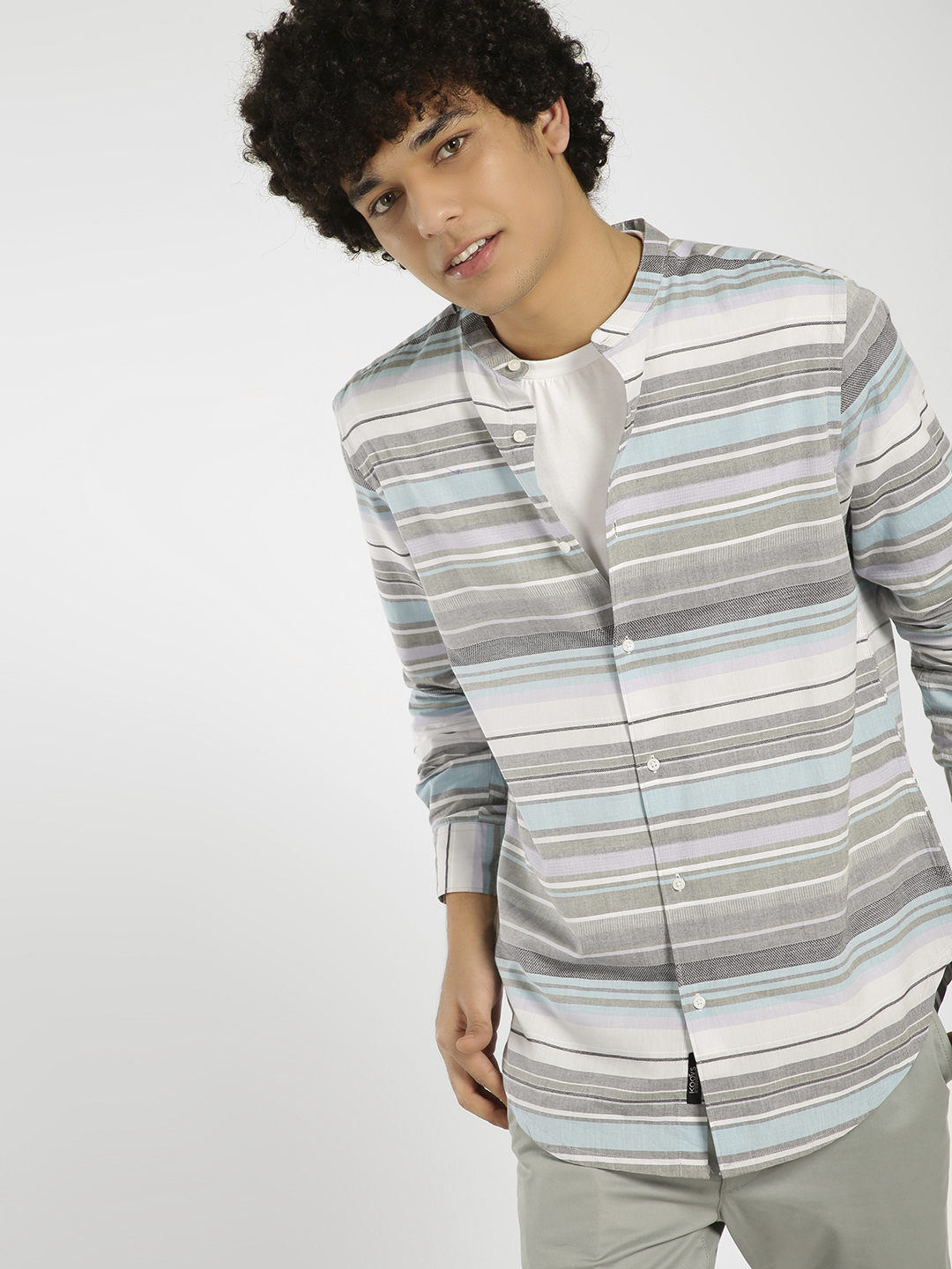 KOOVS Multi Striped Grandad Collar Longline Shirt 1