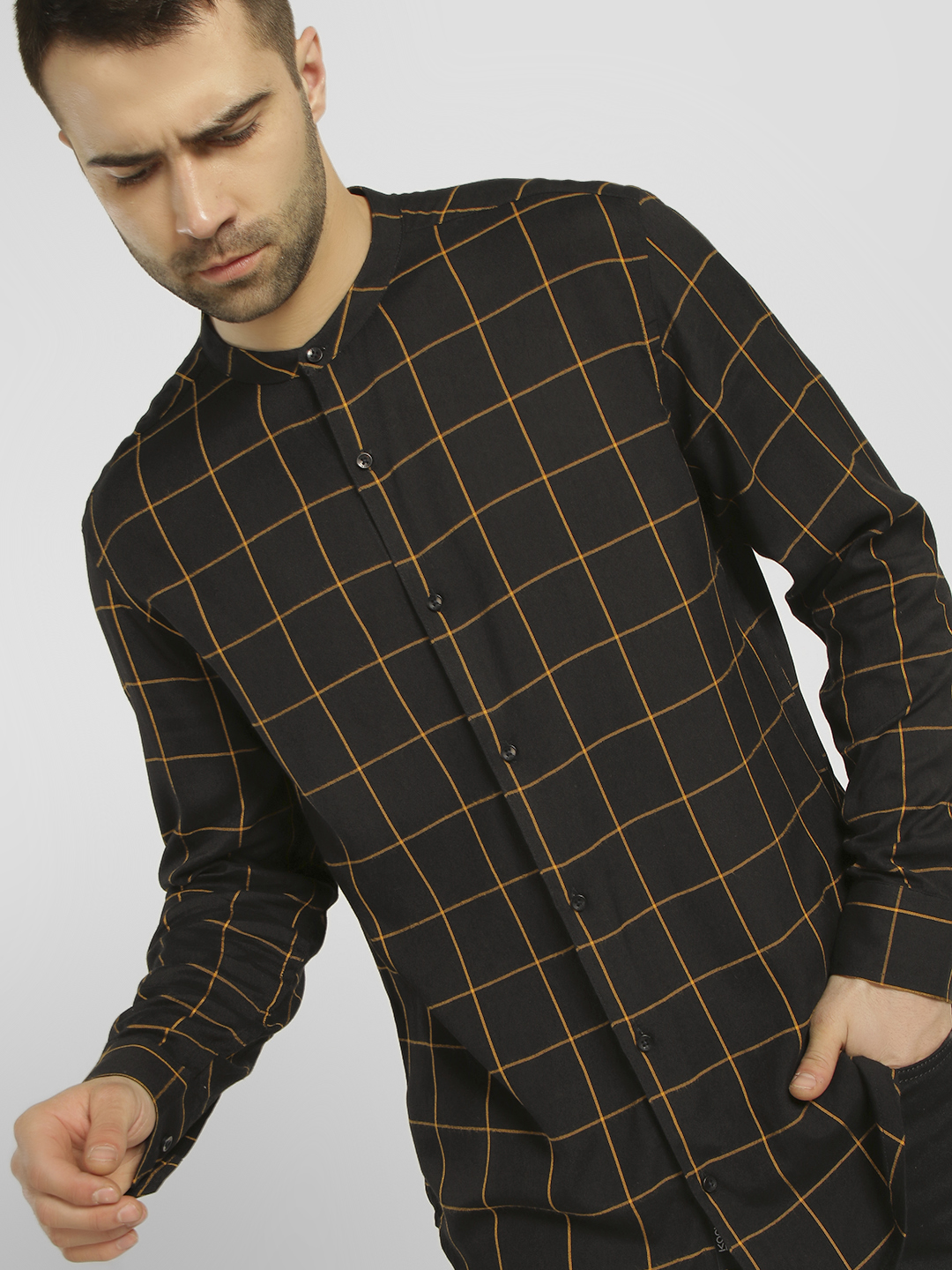 KOOVS Multi Windowpane Check Longline Shirt 1