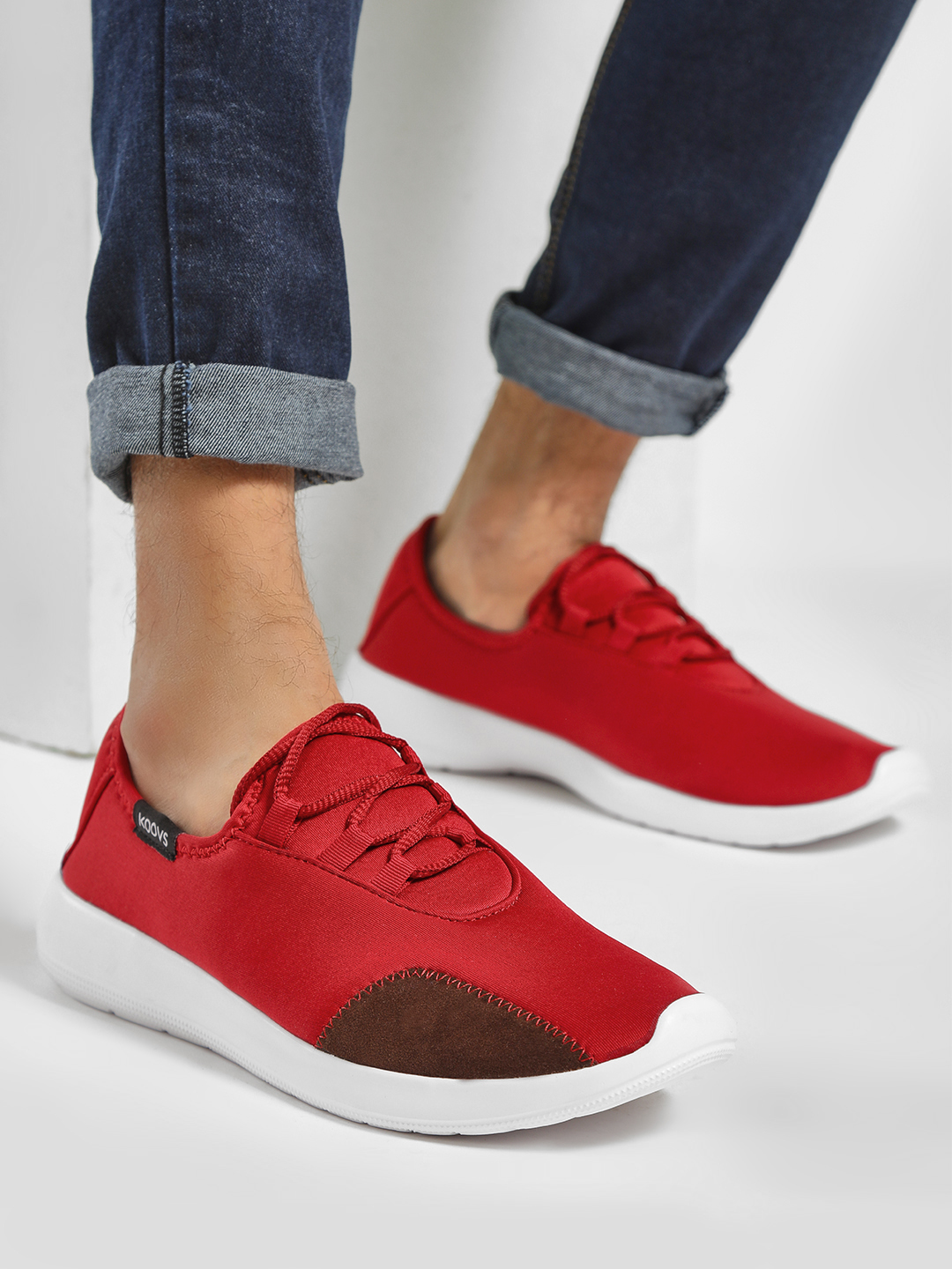 KOOVS Red Suede Panel Low Top Sneakers 1