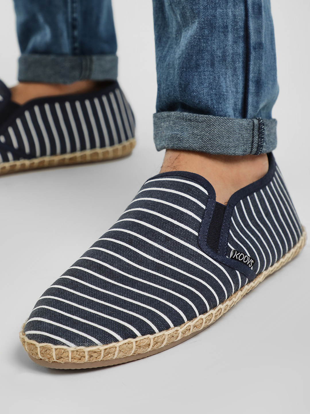 KOOVS Blue All Over Stripe Espadrilles 1