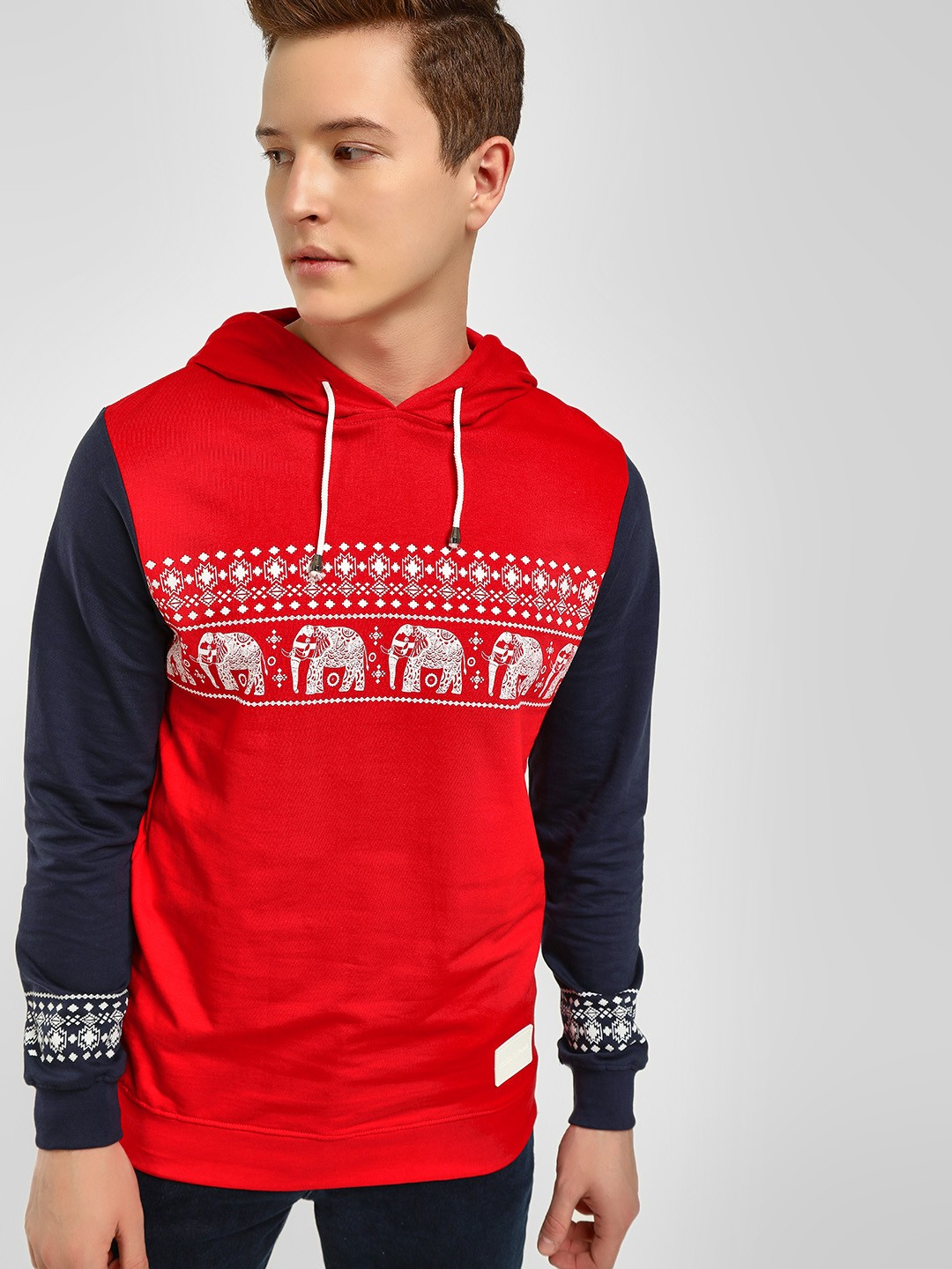 Fighting Fame Maroon Traditional Print Colour Block Hoodie 1