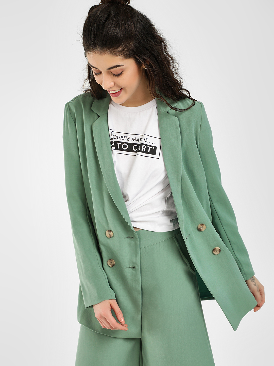 KOOVS Green Double Breasted Blazer 1