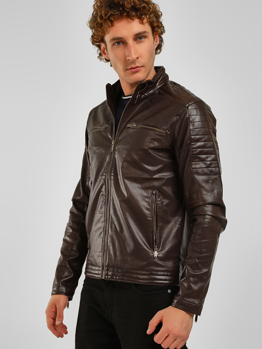 Lee Cooper Tan Perforated Paneled Biker Jacket 1