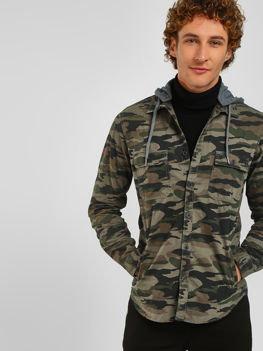 Lee Cooper Dark Olive  Camo Print Hooded Shacket 1