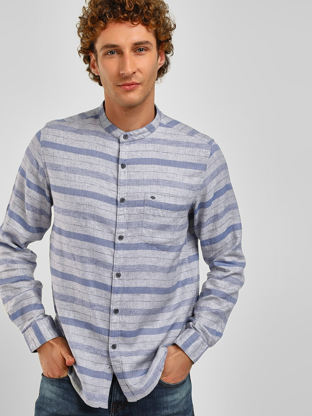 Lee Cooper Light Grey Striped Granddad Collar Shirt 1