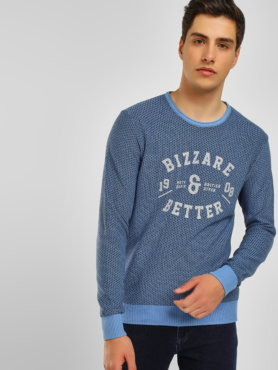 Lee Cooper Blue Placement Print Ribbed Pullover 1