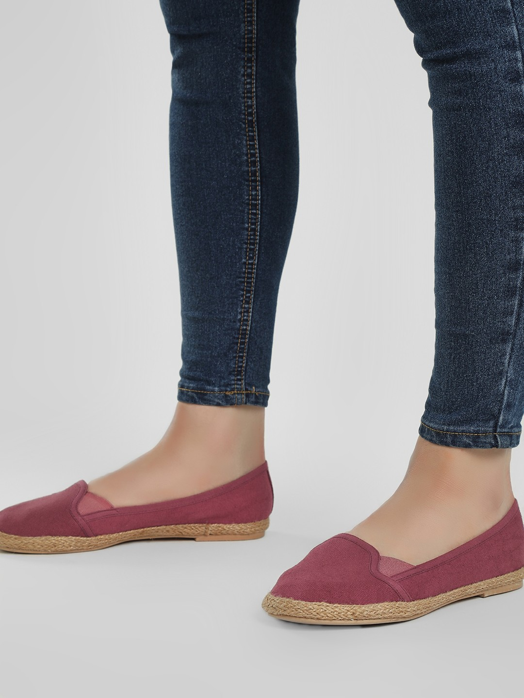 KOOVS Burgundy Jute Braided Canvas Ballerinas 1