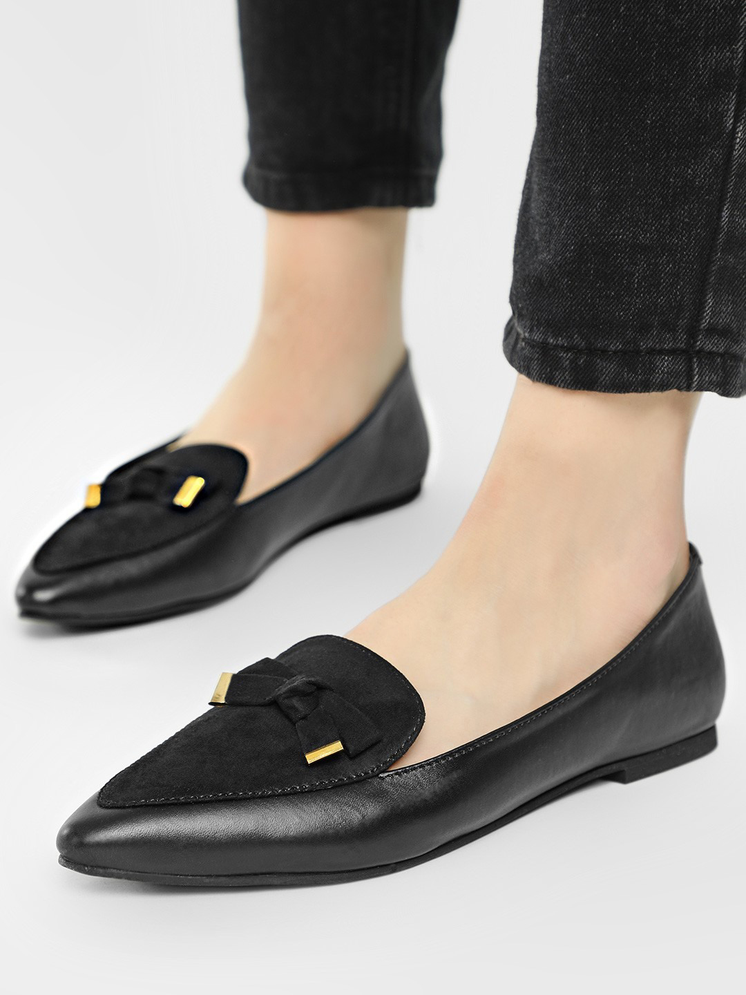 KOOVS Black Bow Detail Suede Finish Loafers 1