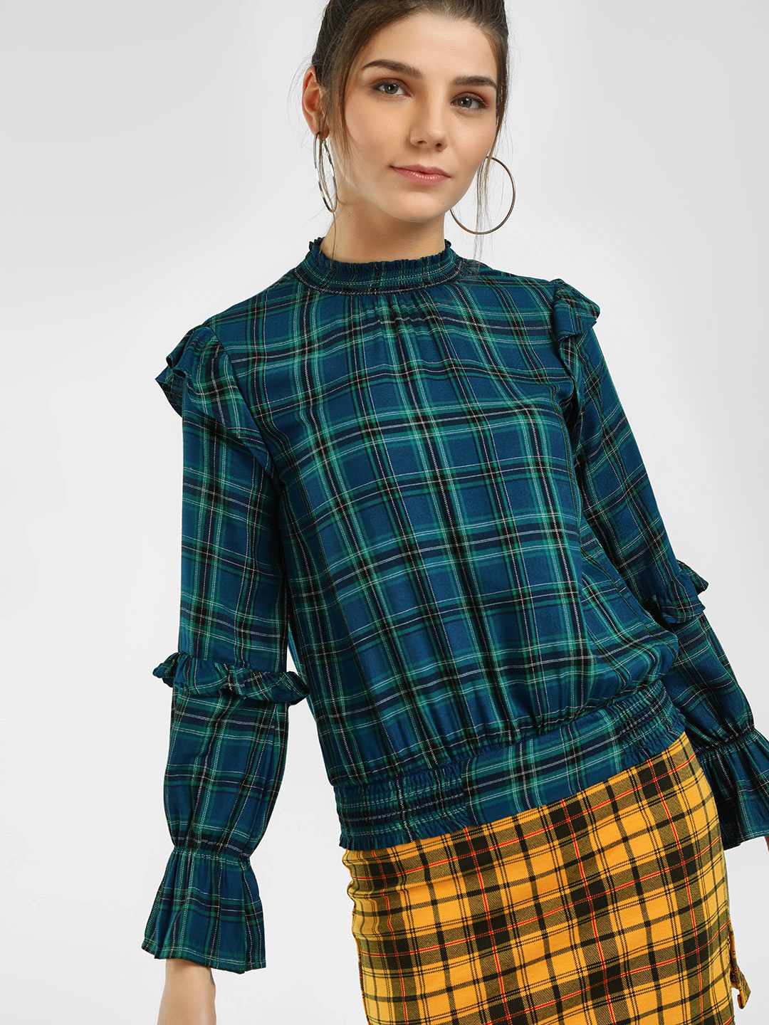 HEY Teal Yarn Dyed Check Blouse 1