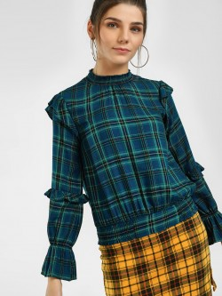 HEY Yarn Dyed Check Blouse