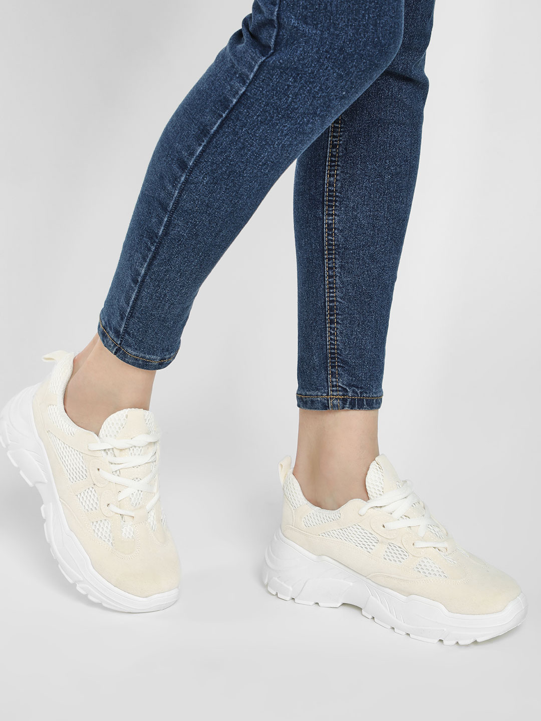 KOOVS White Mesh Suede Chunky Sole Trainers 1