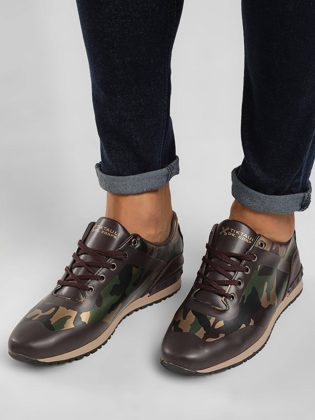 Tiktauli Brown Rodeo Camo Panel Sneakers 1