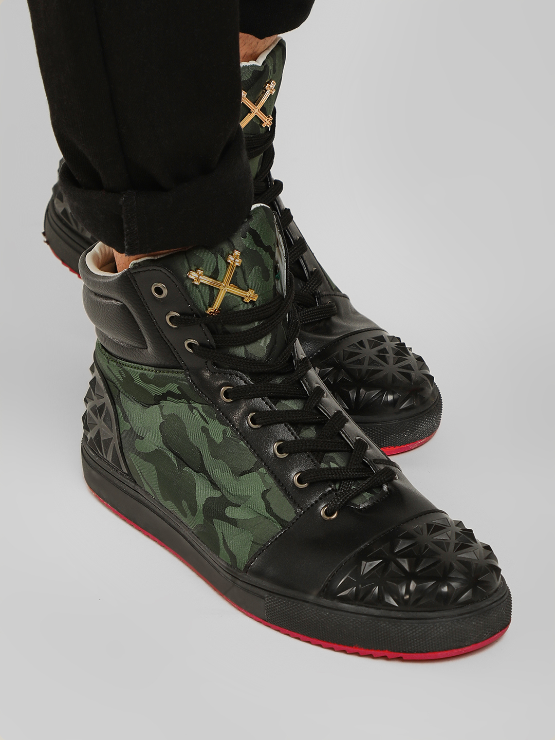 Tiktauli Black Camo Textured High Top Shoes 1