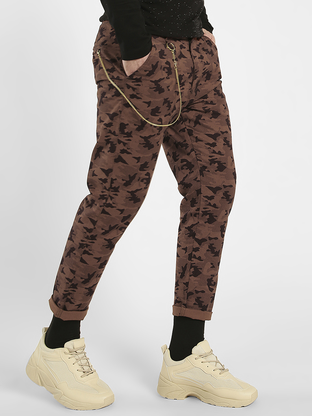 K Denim Multi KOOVS Camo Print Cropped Chinos 1