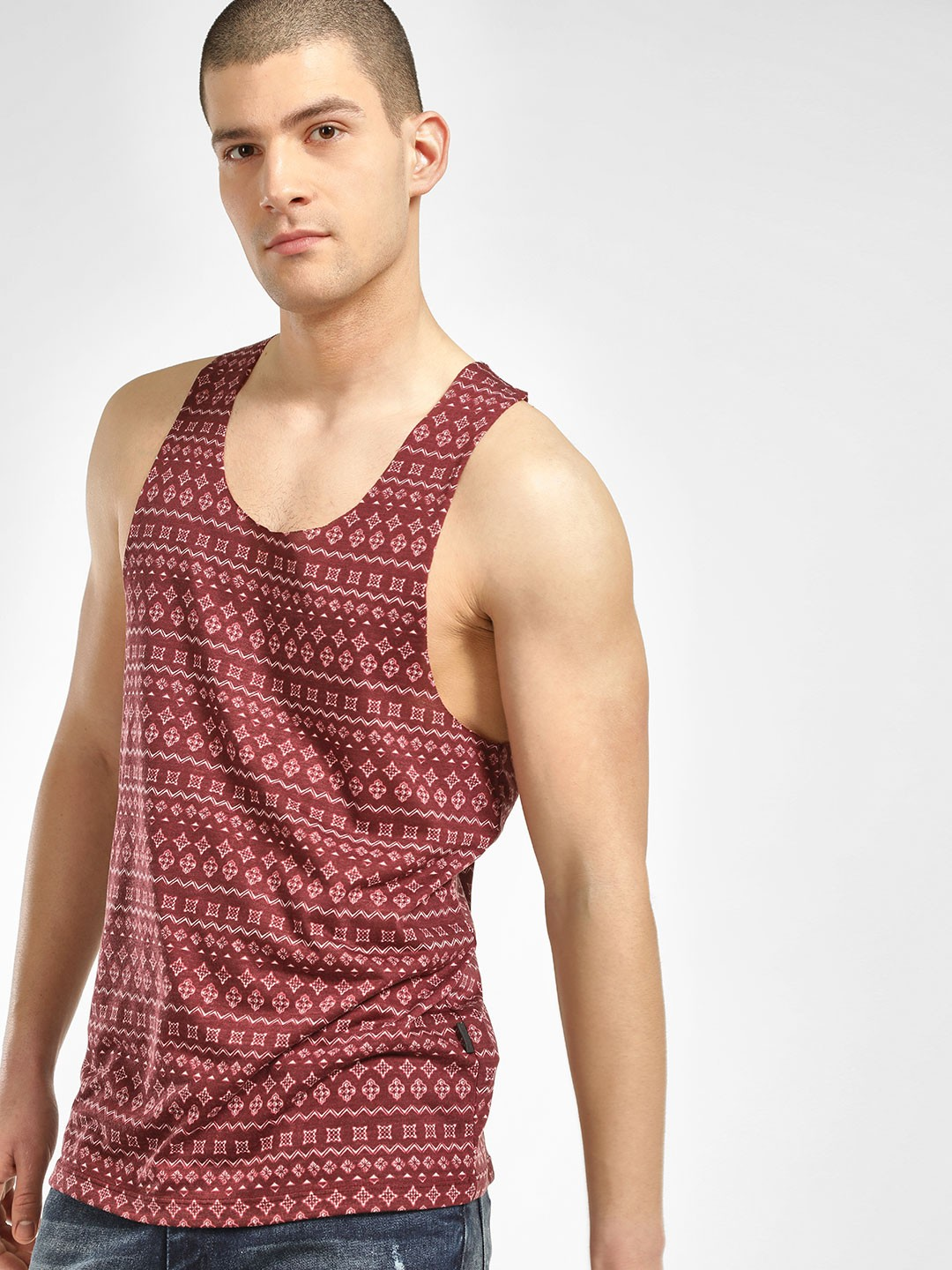 KOOVS Multi Folk Print Raw Edge Vest 1