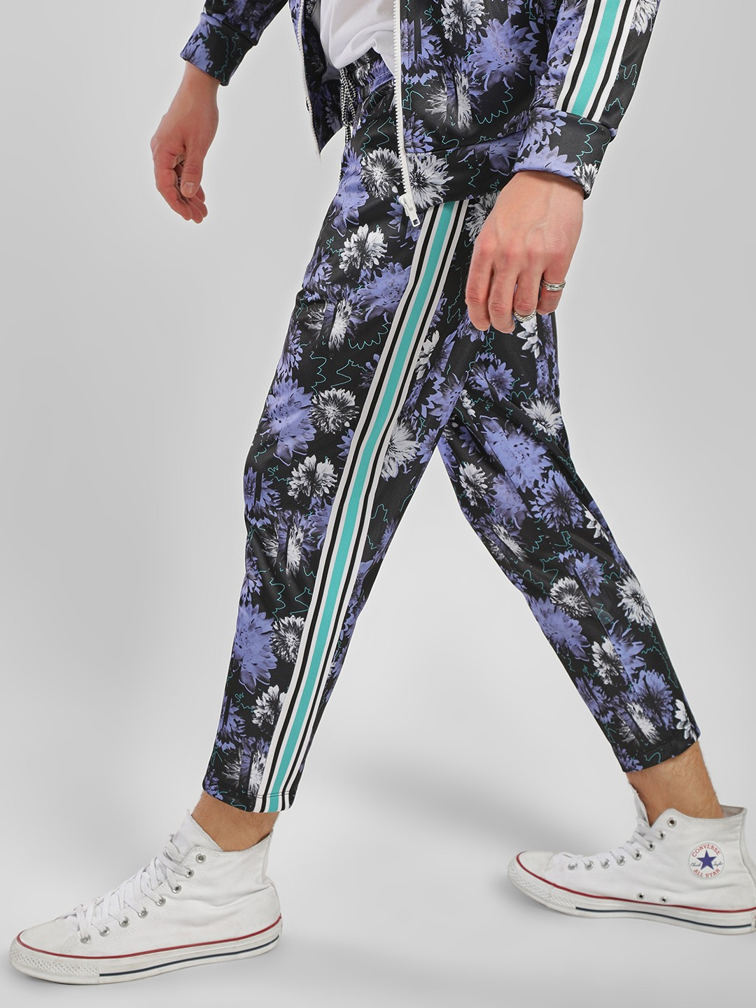 KOOVS Multi Floral Print Cropped Joggers 1