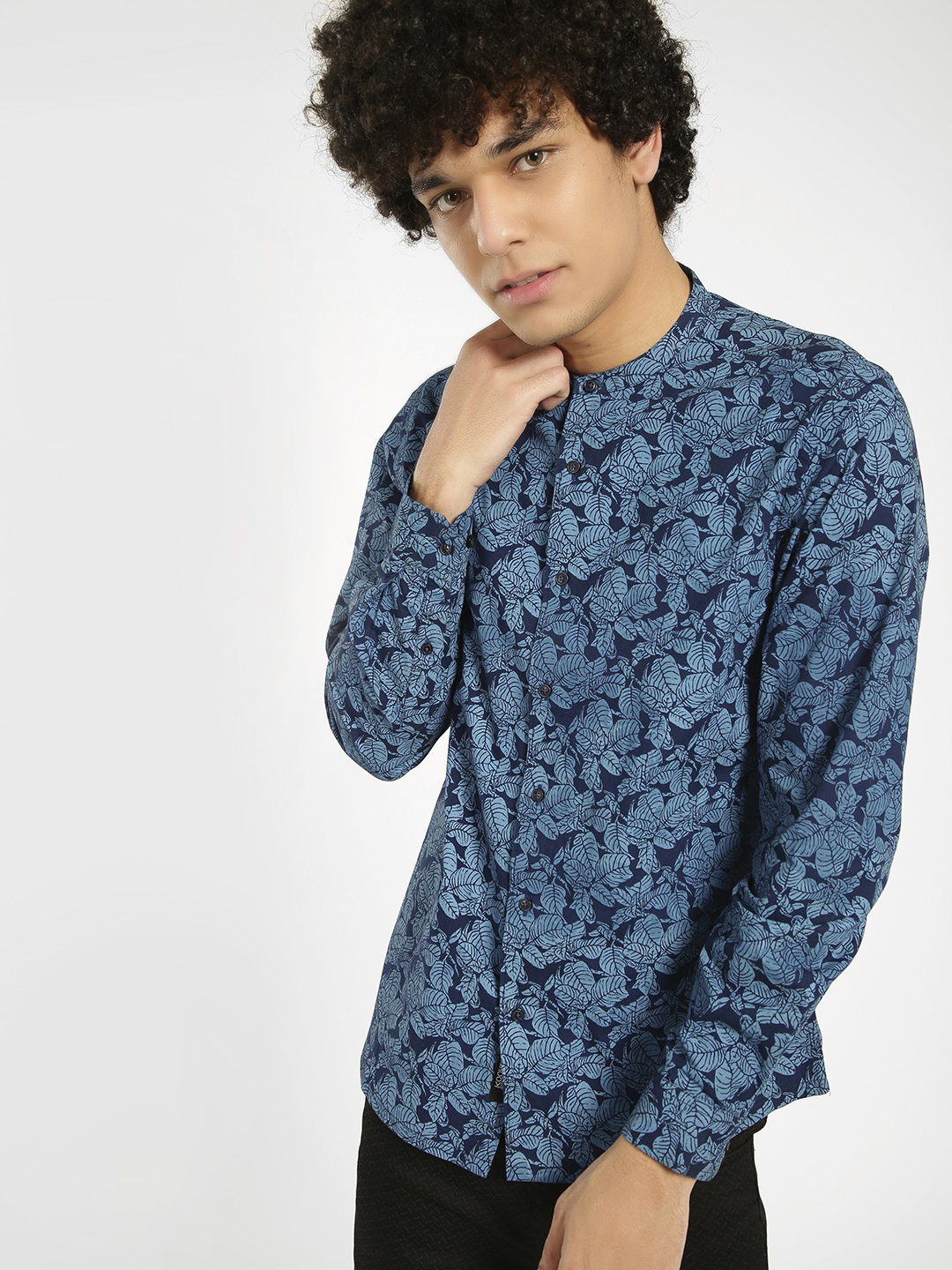 KOOVS Multi Leaf Print Grandad Collar Shirt 1