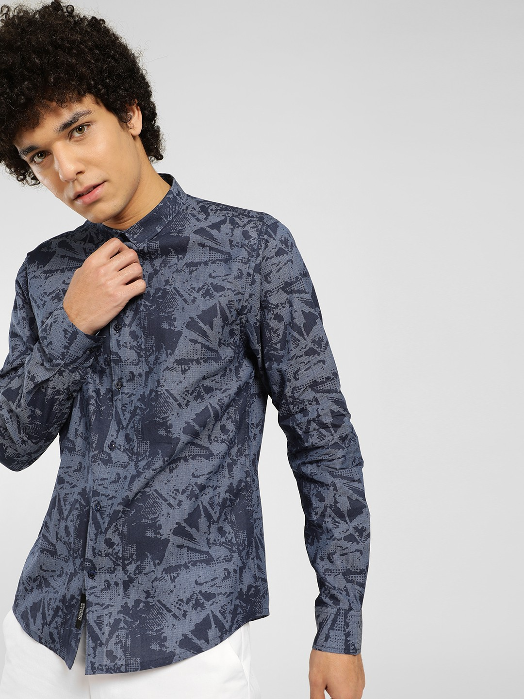 KOOVS Multi Abstract Brush Print Casual Shirt 1