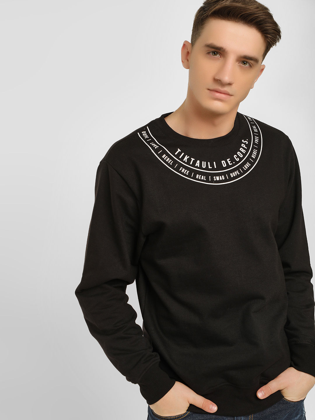 Tiktauli Black Placement Print Sweatshirt 1