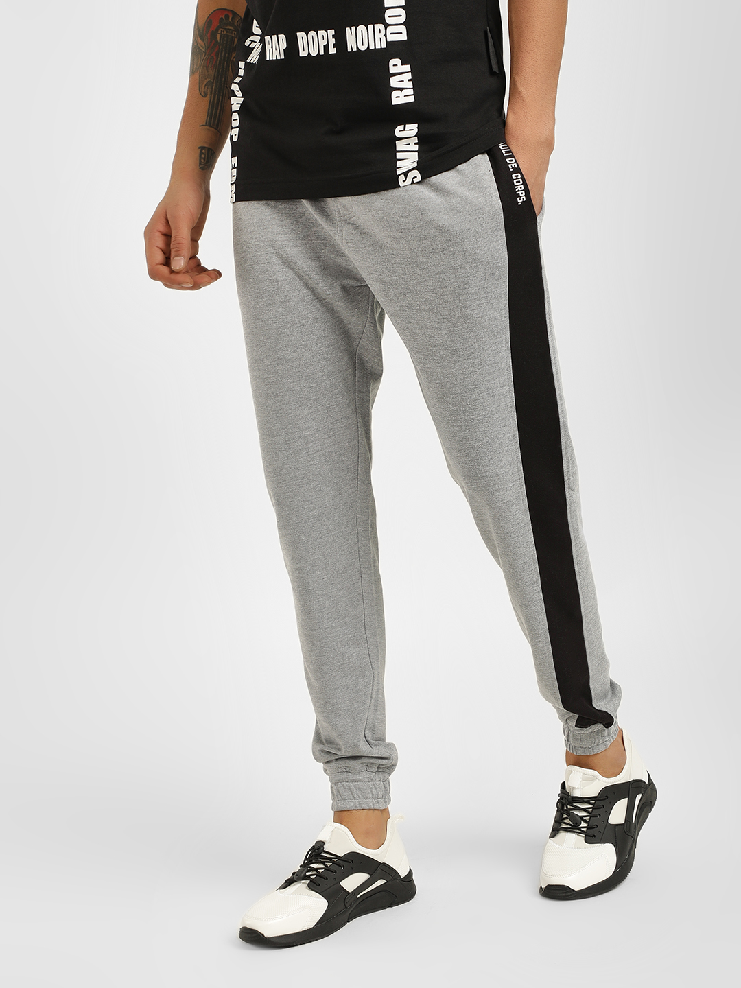 Tiktauli Grey Contrast Tape Side Detail Joggers 1
