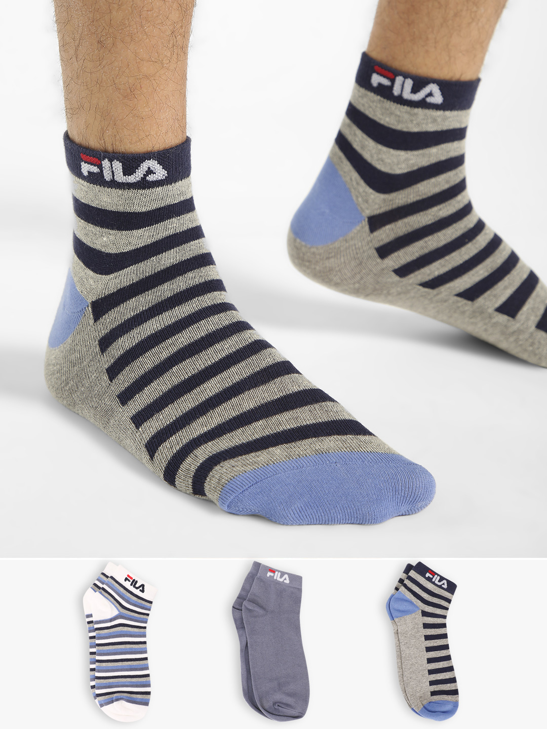 Fila Multi Striped Low Ankle Socks (Pack Of 3) 1