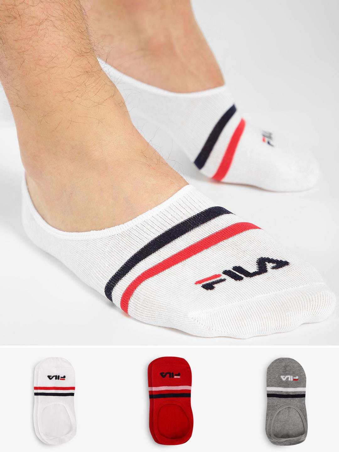 Fila Multi No Show Stripe Socks (Pack Of 3) 1