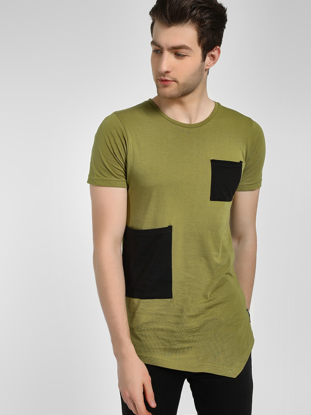 Kultprit Olive Patch Detail Longline T-Shirt 1