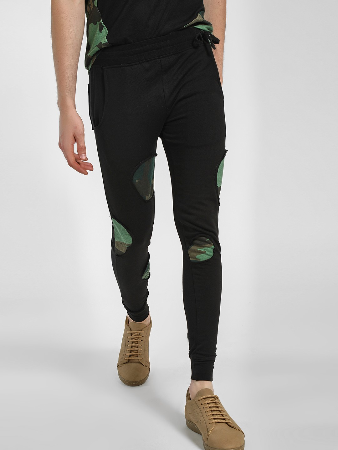 Kultprit Black Camo Patch Slim Fit Joggers 1
