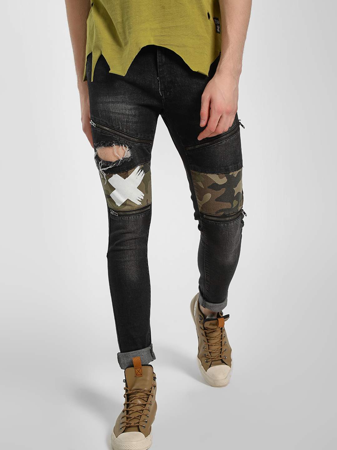 Kultprit Black Distressed Camo Patchwork Skinny Jeans 1