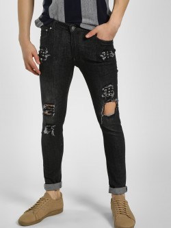 Kultprit Studded Distressed Slim Fit Jeans