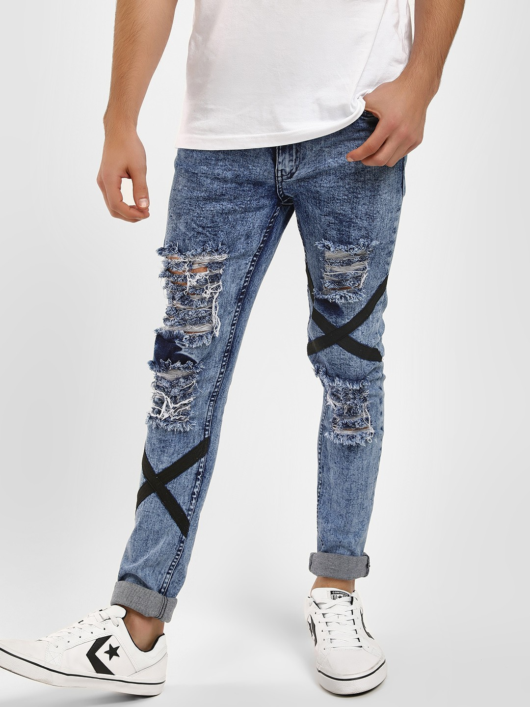 Kultprit Blue Cross Tape Ripped Skinny Jeans 1