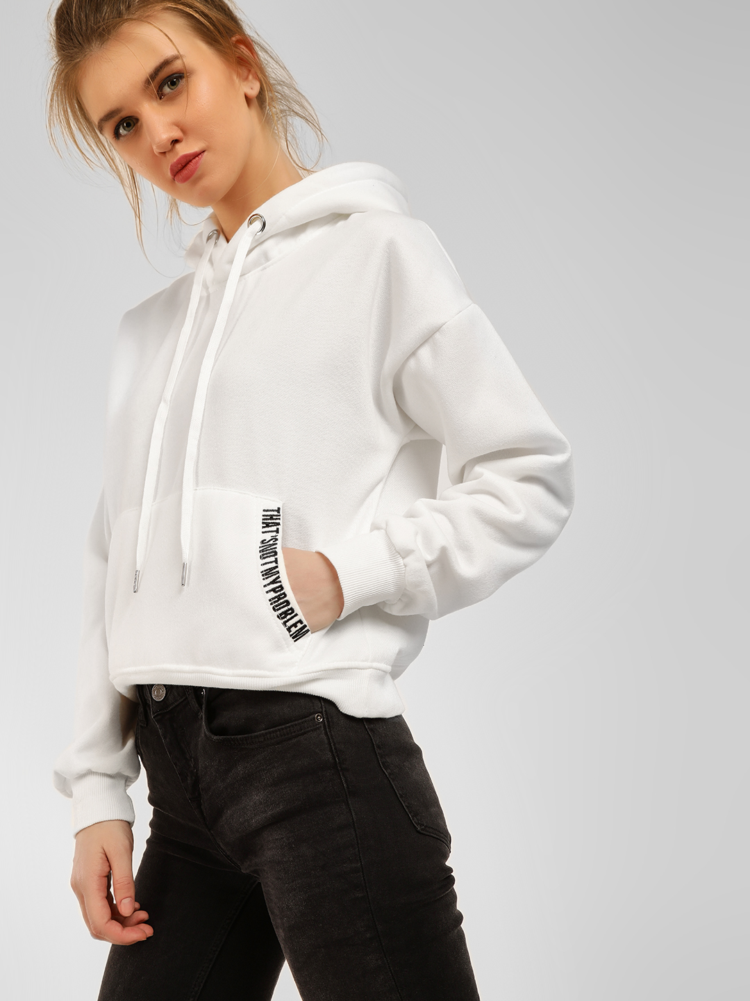 Origami Lily White Slogan Detail Hooded Sweatshirt 1
