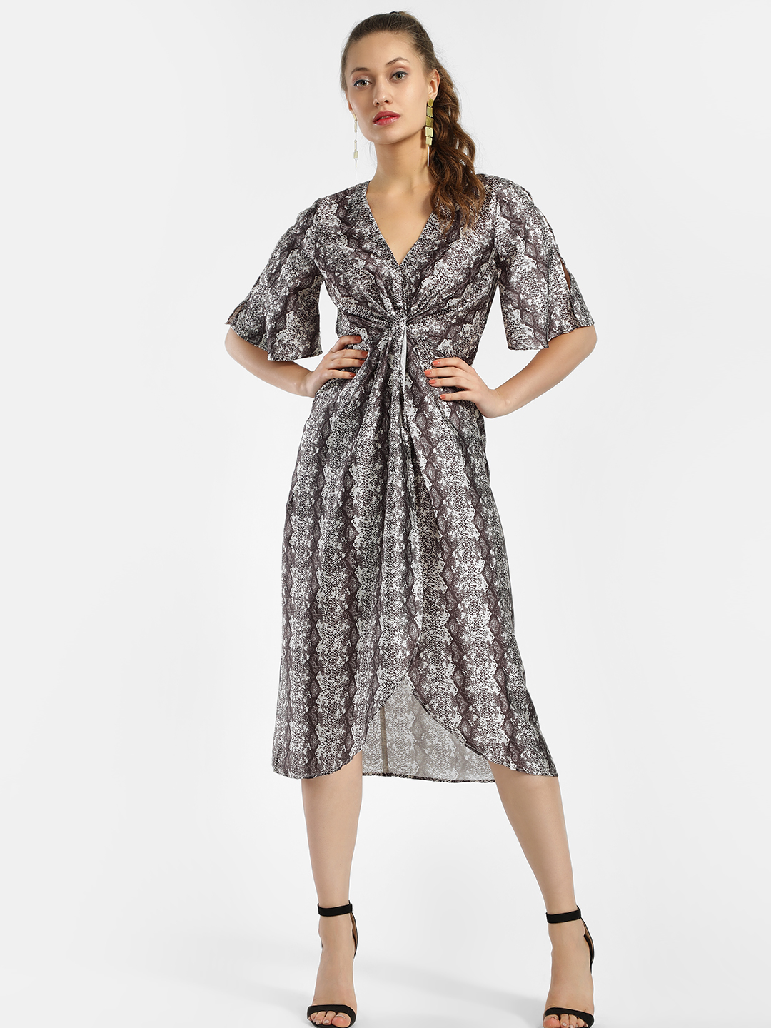 KOOVS Multi Snake Print Midi Dress 1