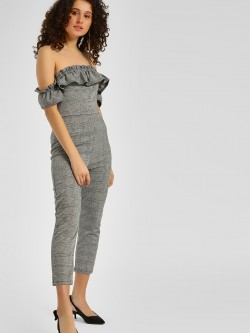Iris Off Shoulder Plaid Jumpsuit