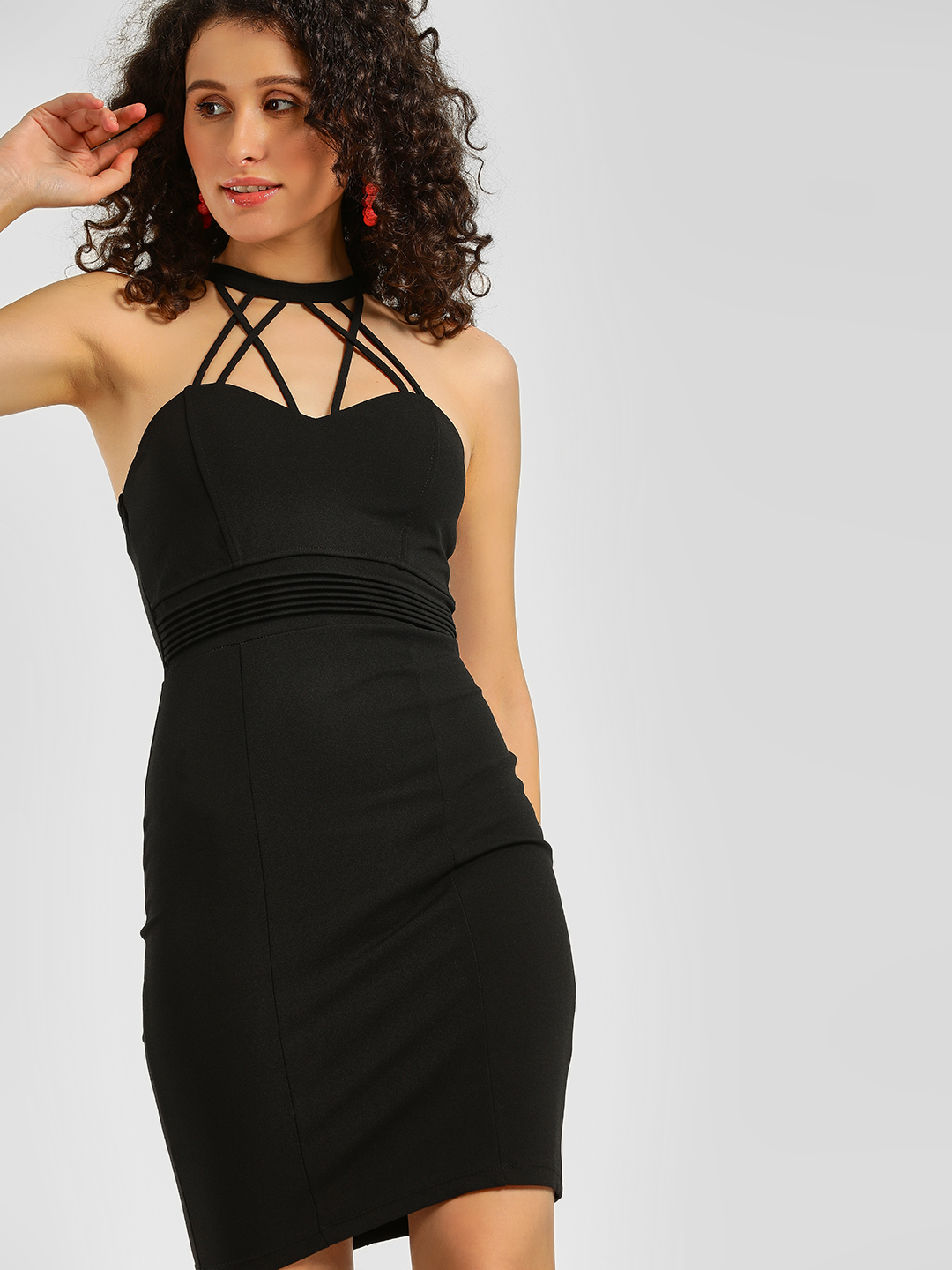 Iris Black Halter Neck Bodycon Dress 1