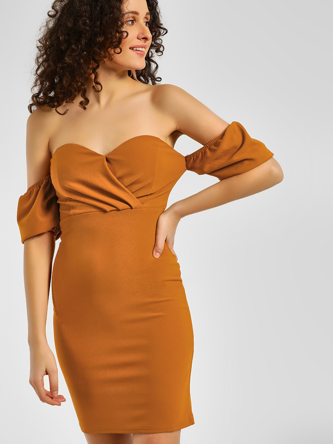 Iris Orange Sweetheart Wrap Off-Shoulder Dress 1