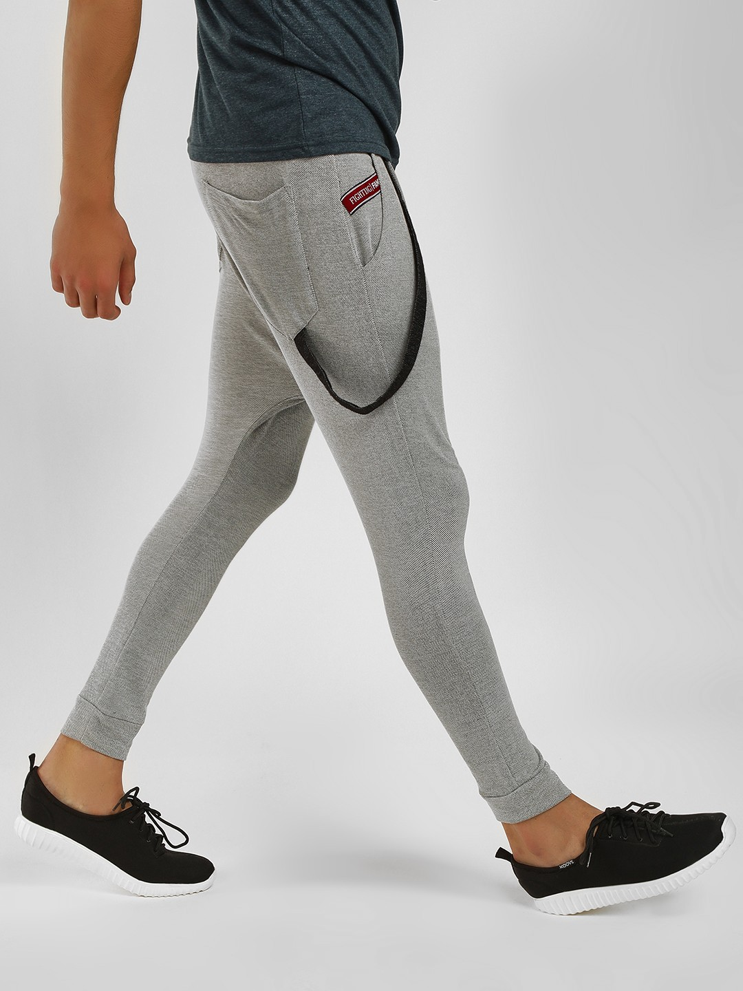 Fighting Fame Light Grey Drop Crotch Suspender Joggers 1