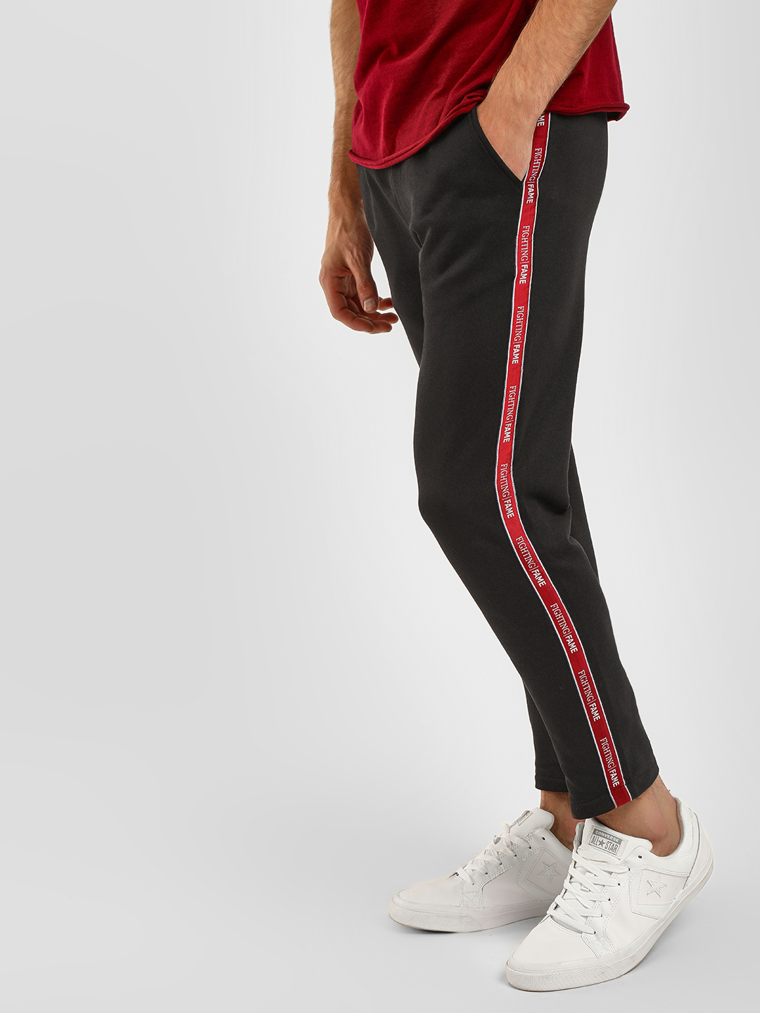 Fighting Fame Black Contrast Side Tape Joggers 1