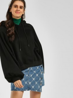 Origami Lily Volume Sleeves Cropped Hoodie