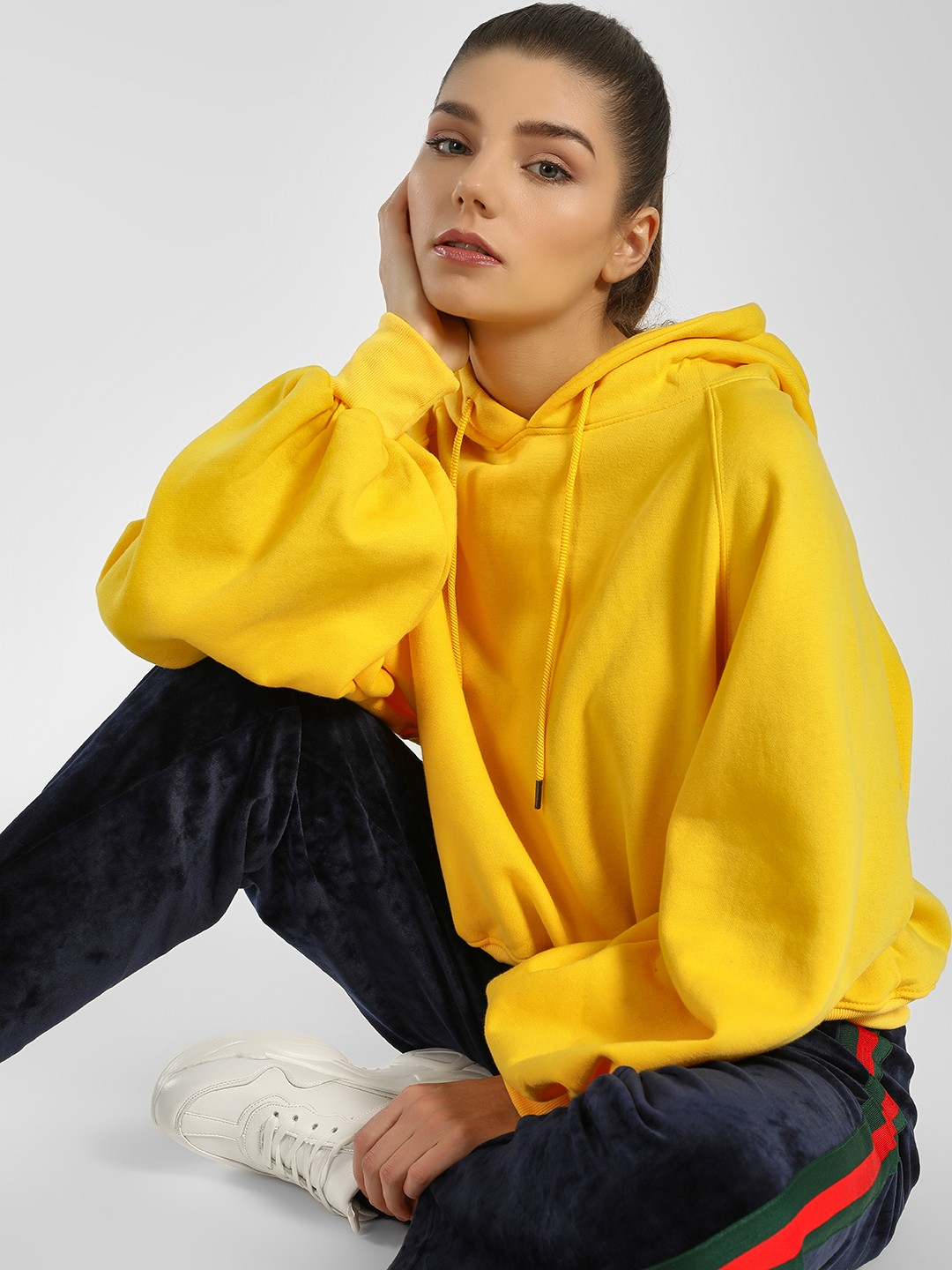 Origami Lily Yellow Volume Sleeves Cropped Hoodie 1