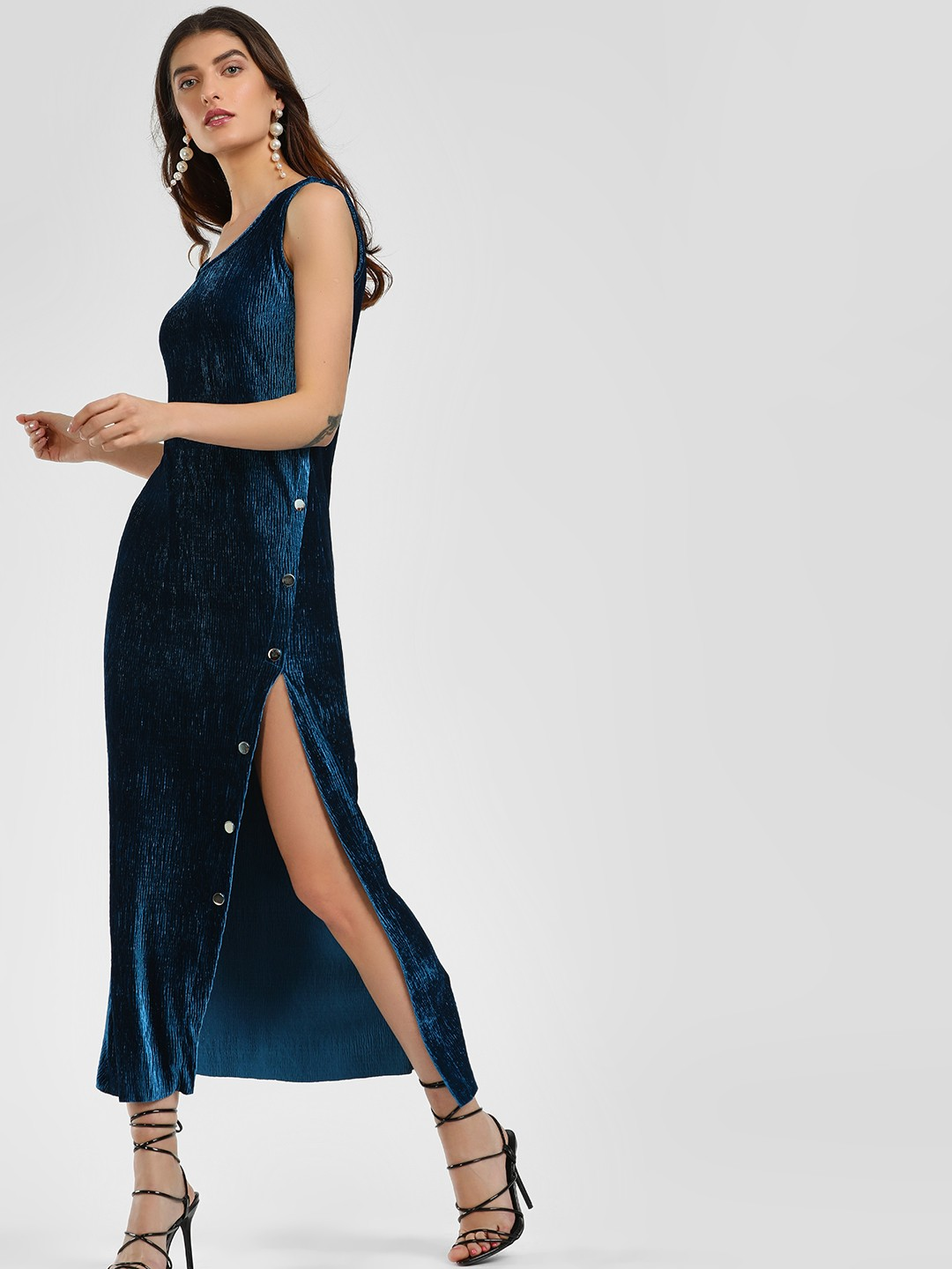 KOOVS Blue Velour Popper Maxi Dress 1