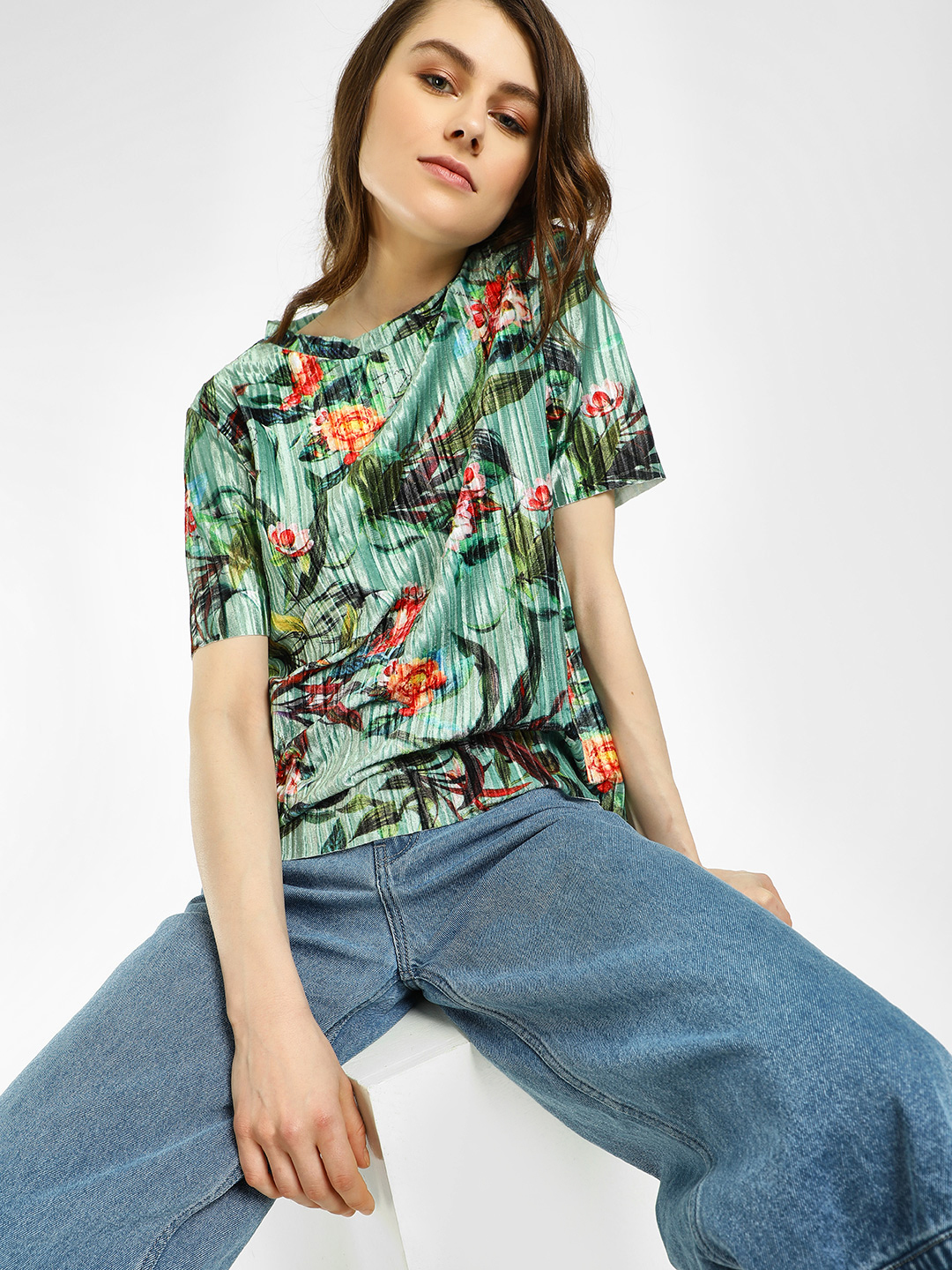 KOOVS Multi Floral Print Velour Pleated Top 1