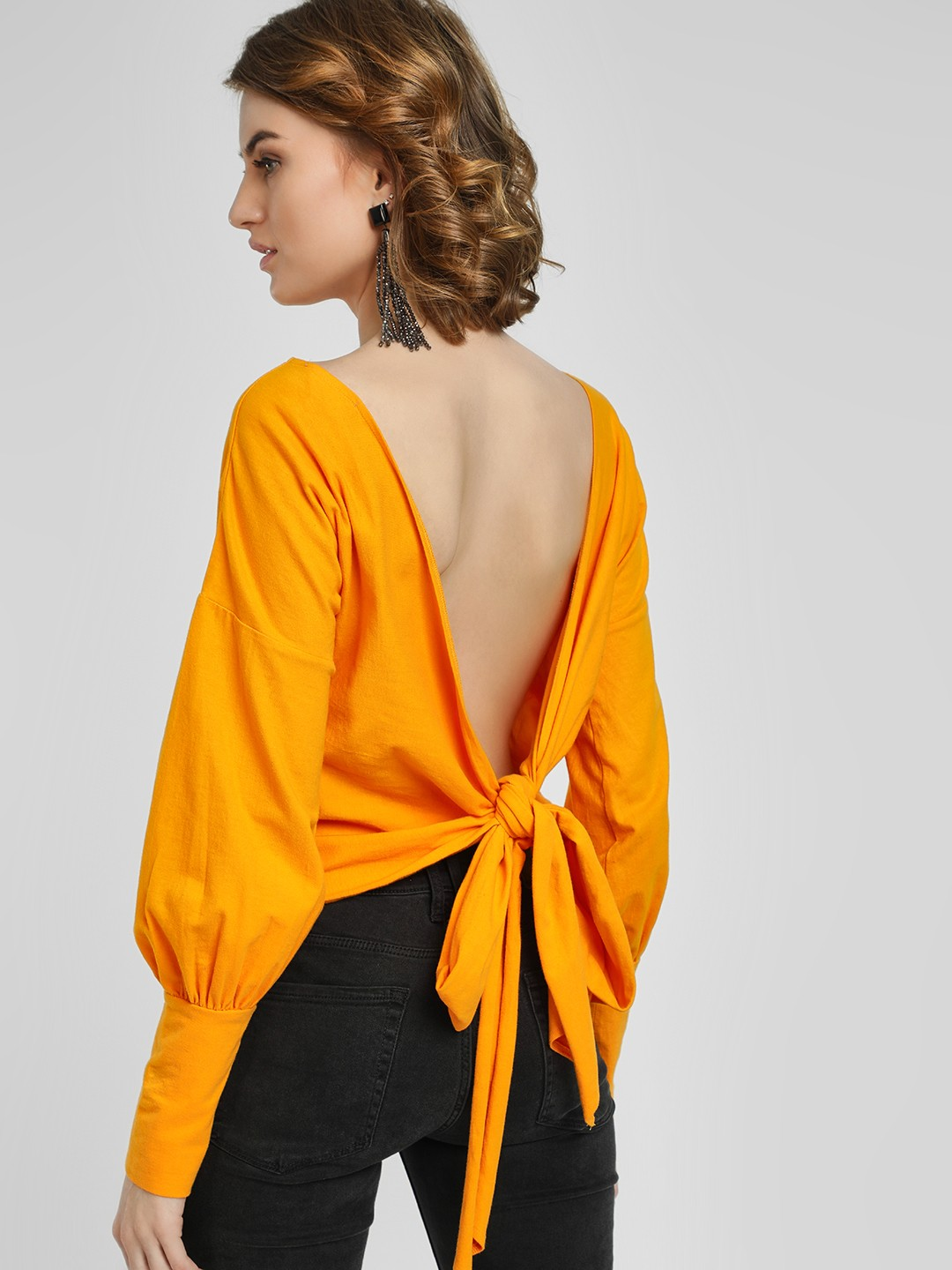 Ri-Dress Yellow Deep Back Bow Tie Top 1