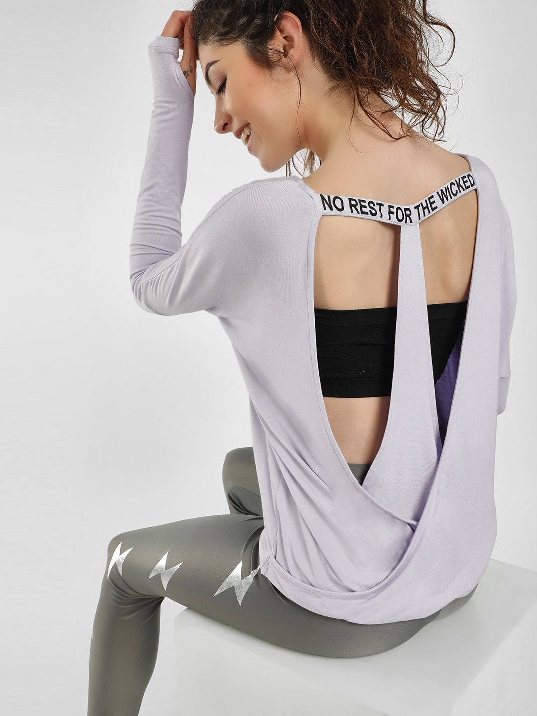 K ACTIVE Lilac KOOVS Slogan Cut-Out Back T-Shirt 1