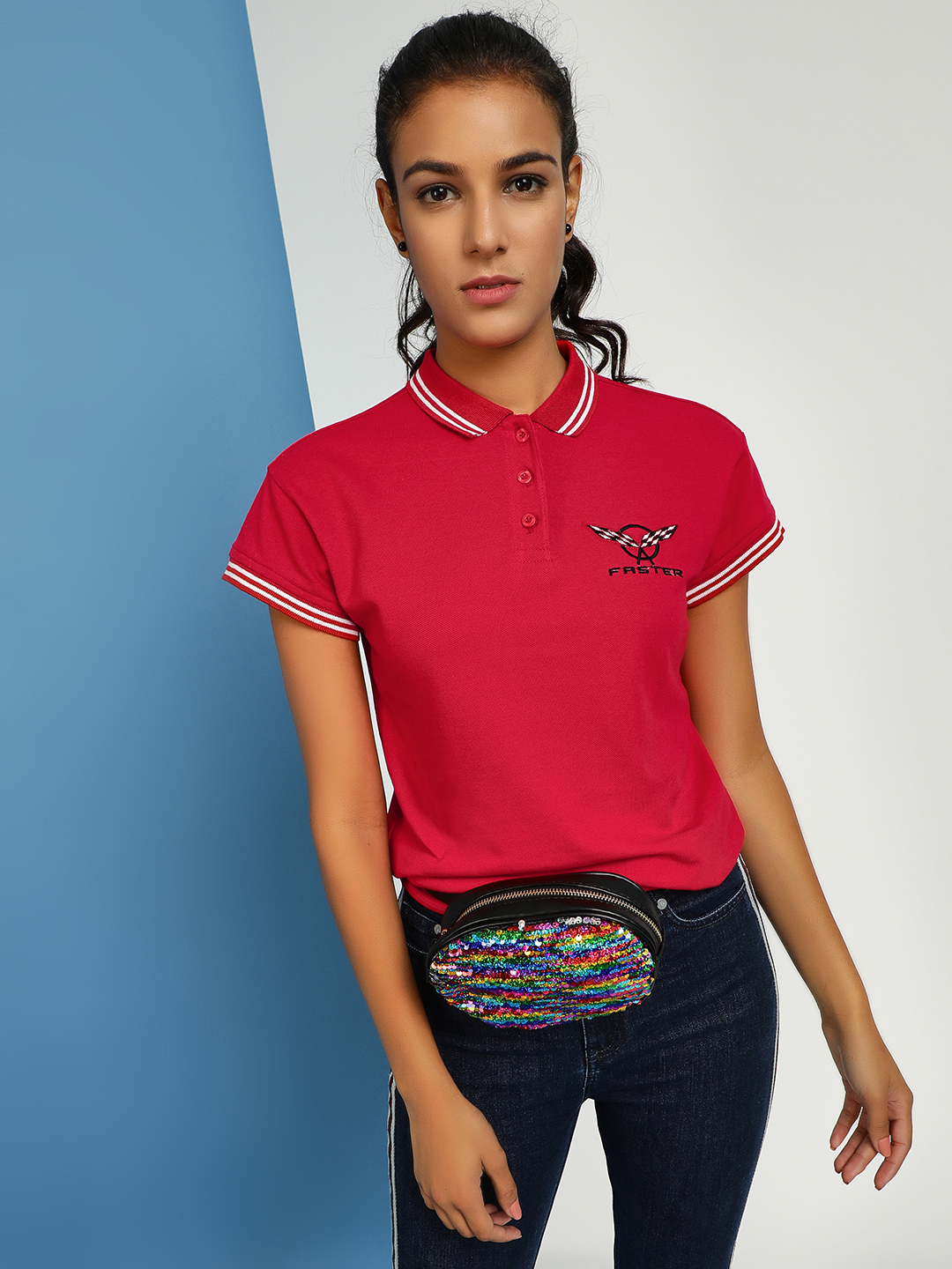 KOOVS Red Text Embroidered Polo T-Shirt 1
