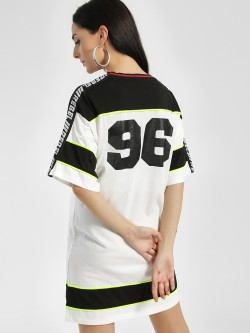 KOOVS Contrast Slogan Tape T-Shirt Dress