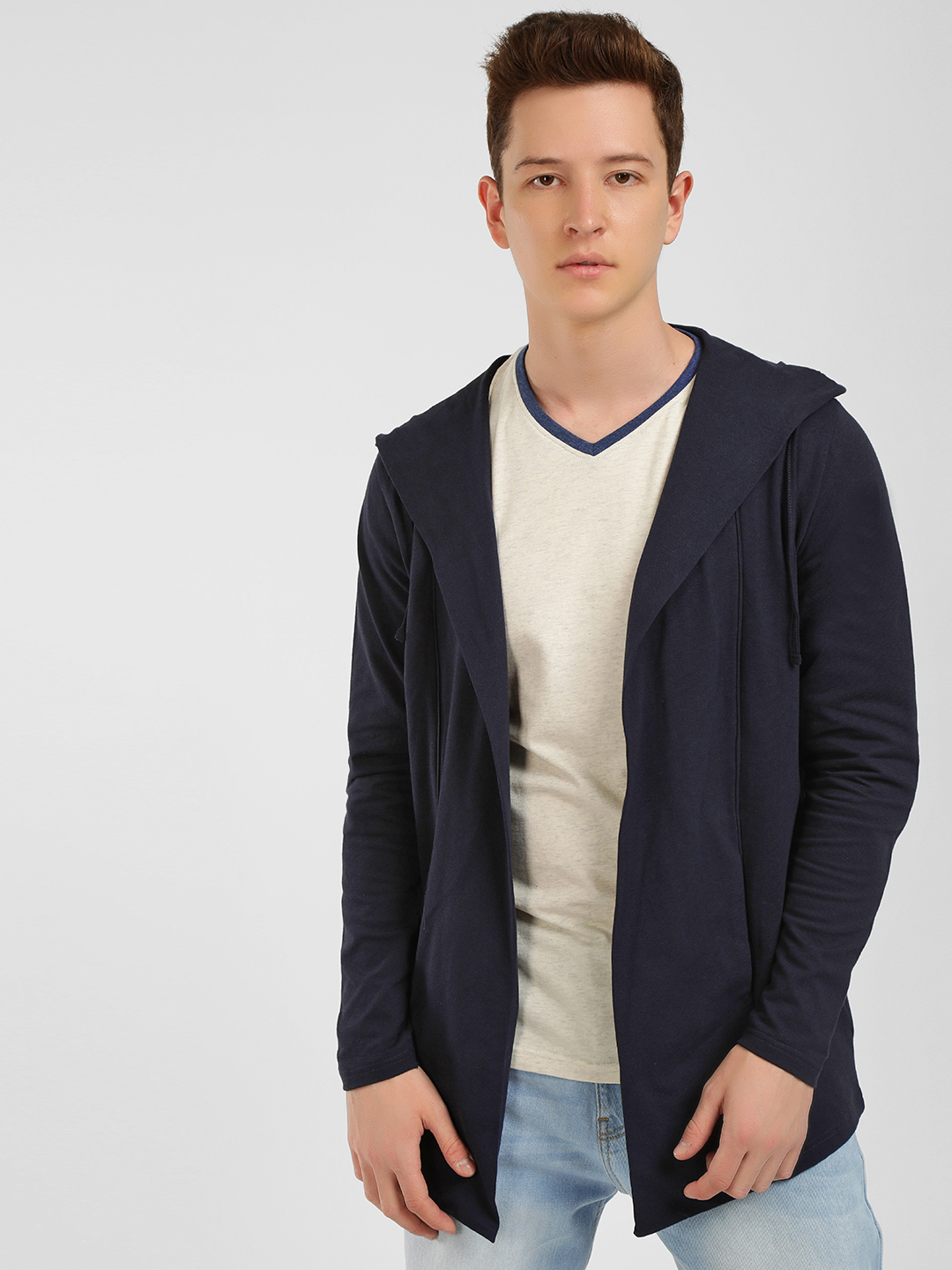 Buffalo Navy Front Open Hooded Cardigan 1