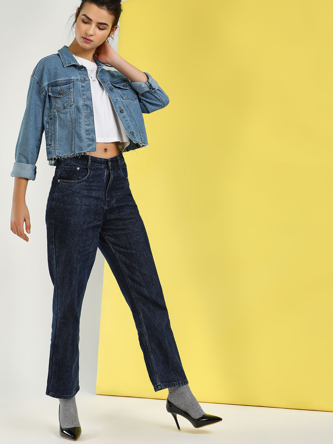 K Denim Blue KOOVS Basic Boyfriend Jeans 1