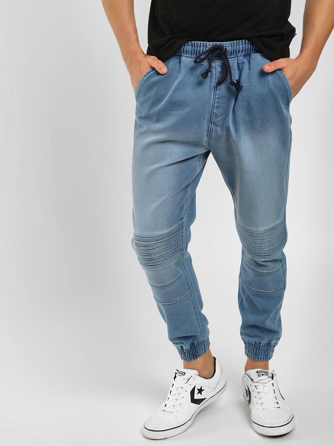Blue Saint Blue Pinstripe Washed Detail Joggers 1